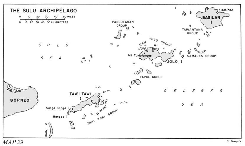 US Army map of Sulu Archipelago