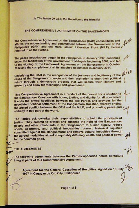 CAB - (GRP- MILF Peace Agreement)