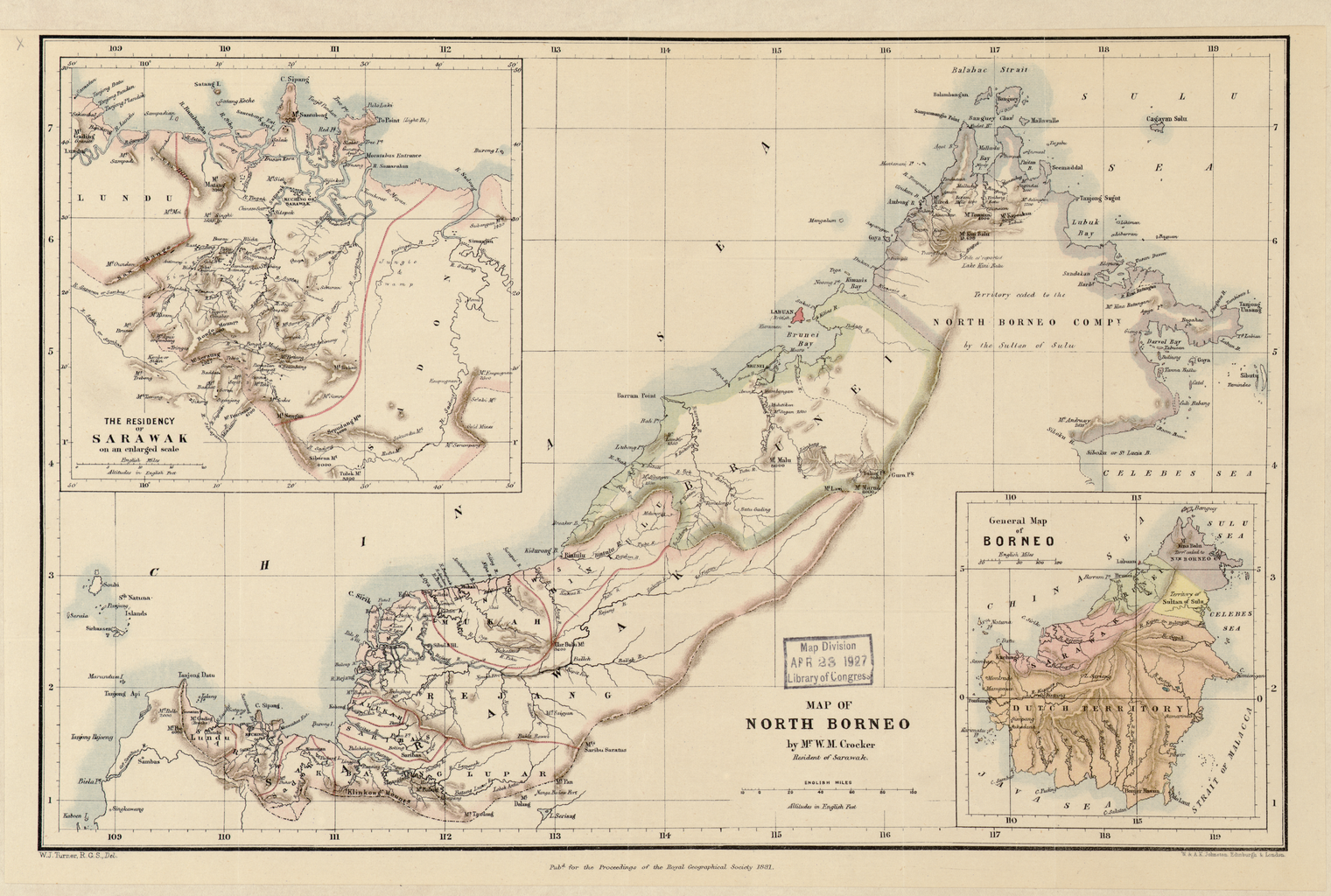 1881 British Map of North Borneo  SULU ONLINE LIBRARY