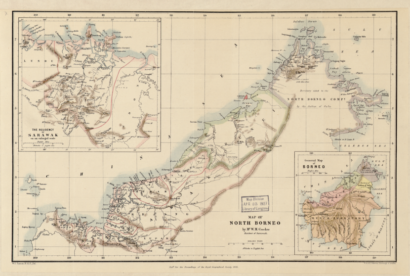 This 1881 map shows the division of the island at the time into territories belonging to the Dutch, the Sultan of Sulu, the Sultan of Brunei, and the North Borneo Company.